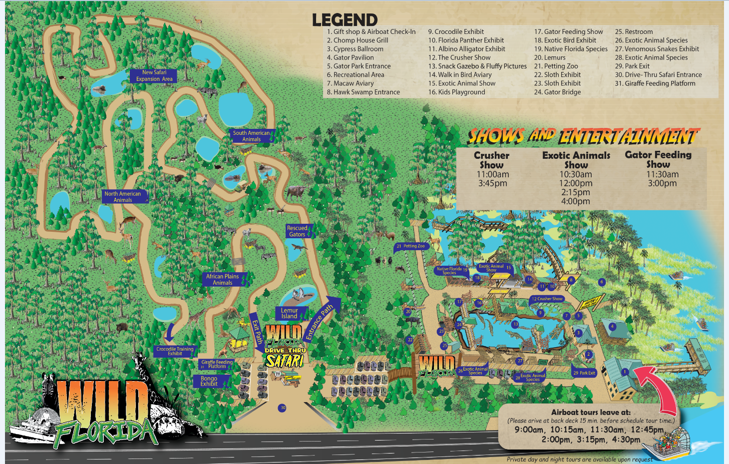 Updated attraction map of Wild Florida
