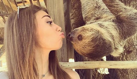 Kissy face selfies at the Sloth Encounter at Wild Florida