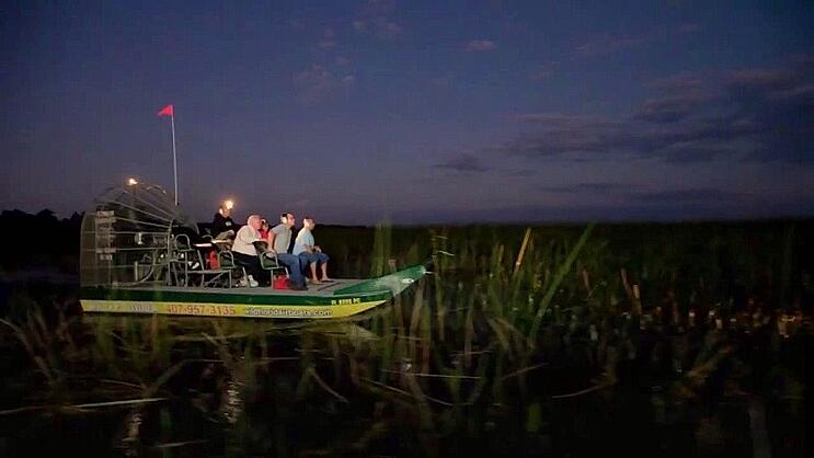 Airboat ride during the night