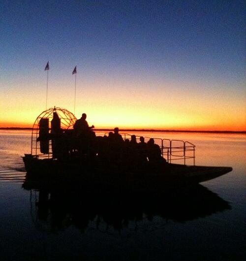 airboat ride at night