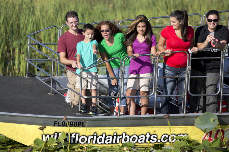 Passengers on an airboat tour