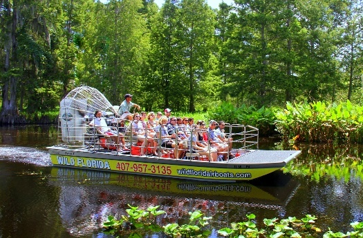 Group of people on airboat tour in Orlando at Wild Florida